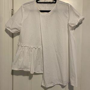 COS white asymmetrical blouse